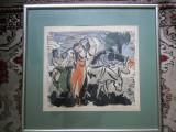 "Lidia Mihaescu (1918 - ?) ""Pe plaiuri dobrogene"" linogravura color, Scene gen, Acuarela, Realism"