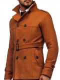Palton maro de iarnă două rânduri de nasturi guler înalt Bolf 0009