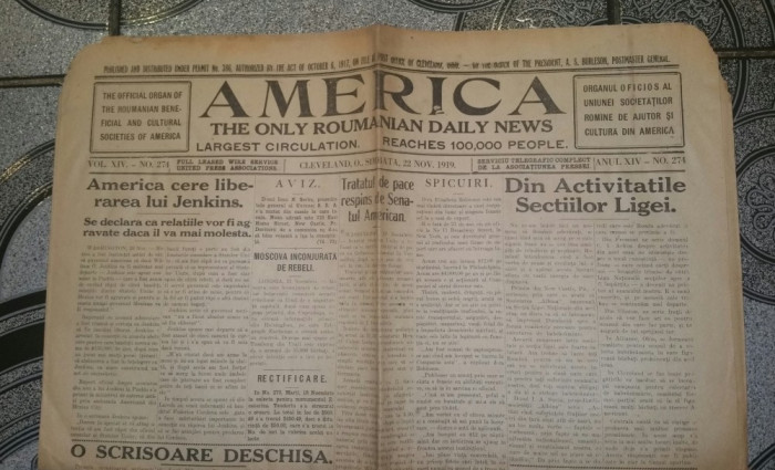 RAR - Ziarul AMERICA - an 1919