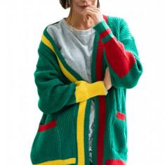 Y746-312 Cardigan tricotat in trei culori cu buzunare mari pe lateral