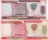 Mozambic 50 000 si 100 000 Meticais ( Set 2 bancnote) 1993 UNC