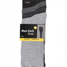 Set 3 perechi sosete pentru costum barbati Men Suit Socks, gri inchis/gri deschis, marimea 39-45