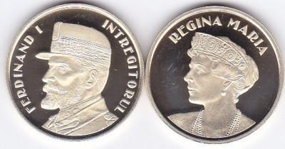 Moneda Romania 50 Bani 2019 - Proof ( set x2 - Ferdinand I + Regina Maria ) foto
