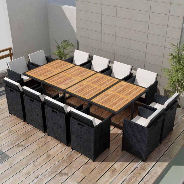 Set mobilier de exterior 37 piese, poliratan și acacia, negru