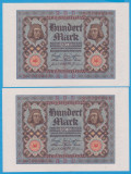 2 BANCNOTE GERMANIA - 100 MARK 1920 (1 NOIEMBRIE 1920), SERII CONSECUTIVE, AUNC