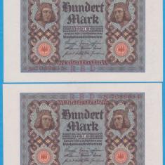 2 BANCNOTE GERMANIA - 100 MARK 1920 (1 NOIEMBRIE 1920), SERII CONSECUTIVE, AUNC