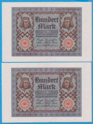 2 BANCNOTE GERMANIA - 100 MARK 1920 (1 NOIEMBRIE 1920), SERII CONSECUTIVE, AUNC foto