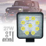 Proiector LED Auto Offroad Patrat 27W Proiectoare SUV ATV Auto Utilaje