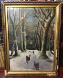 """Tablou """"Pădure cu haită de lupi"""" (ulei pe pânză, nesemnat, 66x50cm.)"""