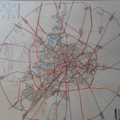 Harta Bucuresti,1934, zona extinsa, litografie, 100x90 cm, caserata, perfecta