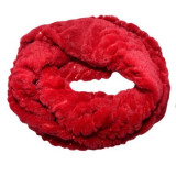 Cumpara ieftin Fular calduros Dave cu insertii de paiete ,model circular,nuanta de rosu