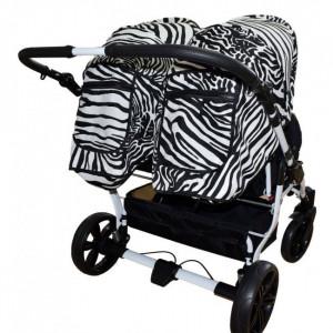 Carucior gemeni PJ Stroller 3 in 1 Zebra