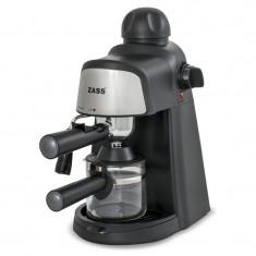 Espressor manual Zass, 800 W, 5 bari, dispozitiv cappuccino, negru