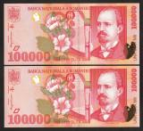 Romania, două bancnote 100000 lei 1998 UNC_serie consecutiva 002C1311952 / 53