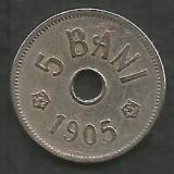ROMANIA  5  BANI 1905  [5]  VF+ ,  livrare  in cartonas, Cupru-Nichel