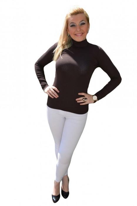 Bluza clasica de culoare maro inchis, din vascoza, maneca lunga