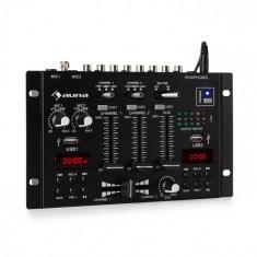 Auna DJ-22BT, MKII, mixer,DJ-mixer cu 3/2 canale, BT, 2xUSB, montare pe raft, negru