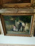 Cumpara ieftin Tablou vechi scoala Ardeleana, Scene gen, Ulei, Impresionism