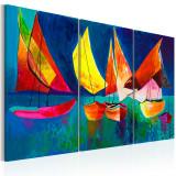 Tablou pictat manual - Portocaliu colorat - 3 piese - 120 x 80 cm, Artgeist