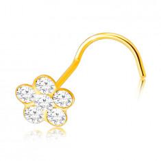 Piercing din aur galben 375 cu capăt curbat - floare cu petale rotunde clare