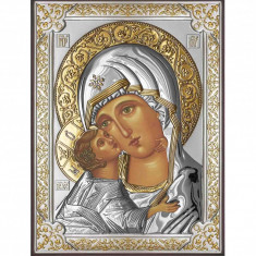 Icoana Maica Domnului Vladimir 13X18cm, Argintata cu detalii Aurii Cod Produs 2589