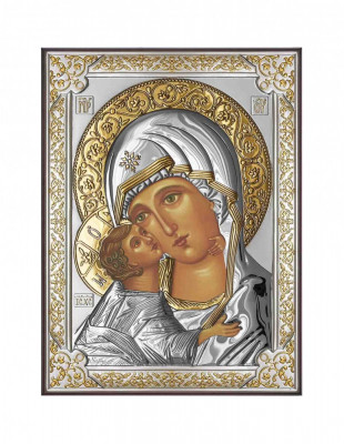 Icoana Maica Domnului Vladimir 13X18cm Argintata cu detalii aurii Cod Produs 2589 foto