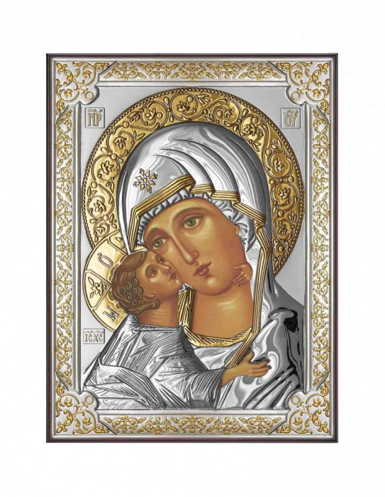 Icoana Maica Domnului Vladimir 13X18cm Argintata cu detalii aurii Cod Produs 2589