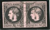 1867 , ROMANIA , Lp 20c  , Carol I cu Favoriti 20 Par , pereche  -  Stampilata