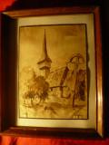 Tablou - Acuarela - Biserica din lemn si Cruce ,semnat Silaghi ,dim.16,4x22,7 cm