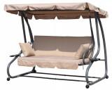 Balansoar cu umbrela, convertibil pat pentru gradina, perinite si spatar rabatabil, 3 locuri, bej