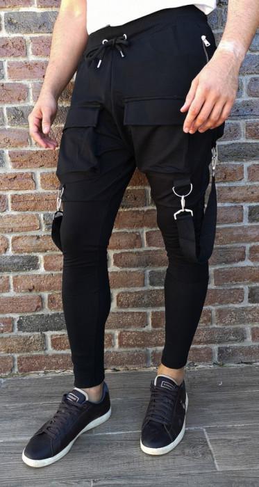Pantaloni bretele- pantaloni barbati pantaloni slim fit- cod 217