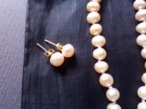 Set colier si cercei perle roz, naturale