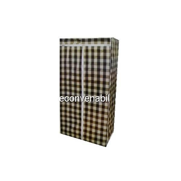 Sifonier portabil din Material Textil Carouri 75x45x160cm