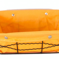 Cos servire dreptunghiular paine din metal cu panza, 23 x 18 x 8 cm culoare galbena, 012094