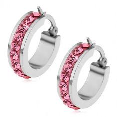 Cumpara ieftin Cercei realizați din oțel inoxidabil cu zirconii roz pe întreg perimetrul