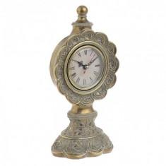 Ceas de masa decorativ auriu din rasina 27cm x 12.5cm x 9.8cm