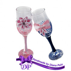 Pahare nunta miri si nasi Handmade by Diana Puiu PNFJ 2 roz-albastru