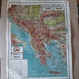 Harta veche Jugo-slavia, Bulgaria, Albania, Grecia (plansa atlas 1924)