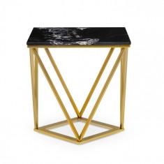 Besoa Black Onyx II, măsuță de cafea, 50 x 55 x 35 cm, marmură, auriu / negru