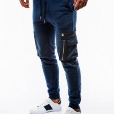 Pantaloni barbati de trening albastru slim fit sport street model nou P732