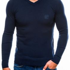 Bluza pentru barbati din bumbac bleumarin inchis casual slim fit E74