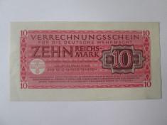 Rara! Germania 10 Reichsmark Wehrmacht(armata germanaWWII)1944,stare foarte buna foto