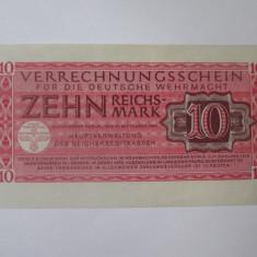 Rara! Germania 10 Reichsmark Wehrmacht(armata germanaWWII)1944,stare foarte buna