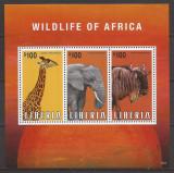 LIBERIA FAUNA AFRICANA ( bloc dantelat ) MNH, Nestampilat