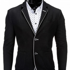 Sacou pentru barbati negru casual slim fit cu buzunare aplicate elegant inchidere doi nasturi M81