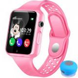 Ceas GPS Copii iUni Kid98, Telefon incorporat, Touchscreen 1.54 inch, BT, Notificari, Camera, Roz + Boxa Cadou