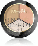 Cumpara ieftin Contour Sensation 3 in 1 Bronzer Highlighter Blusher Eveline 02 Peach Beige