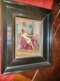 B884-Tablou interior camera cu nud de femeie ulei/placaj nesemnat.
