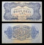 Bancnote, bani vechi 20 lei 1944 Armata Rosie -foarte rara