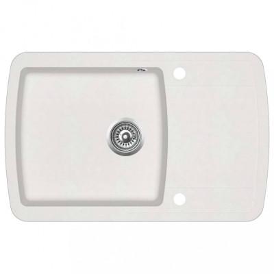 vidaXL Chiuvetă de bucătărie din granit, alb, un bazin foto